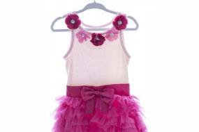 Vestido tutú rosado con fucsia y rositas