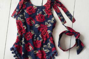 Romper azul con rosas y bandana