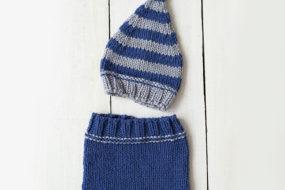Conjunto tejido azul con gris