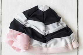 Gorro de tela negro/blanco/rosa