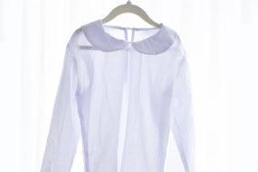 Camisa cuello redondo manga larga blanca