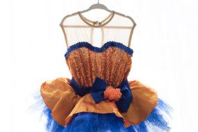 Vestido tutú anaranjado/azul con lentejuelas