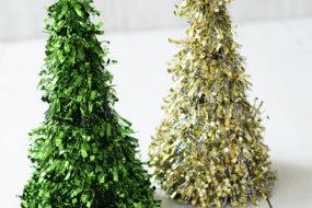Arbolitos de navidad verde y dorado (x2)